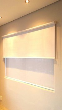 Double roller blinds closed
