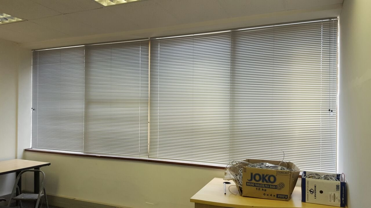 interior glass entrance with doors and office aluminium blinds